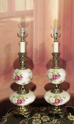 Antique Vintage Brass Pair Porcelain  Floral Hand Painted Table Lamps Light