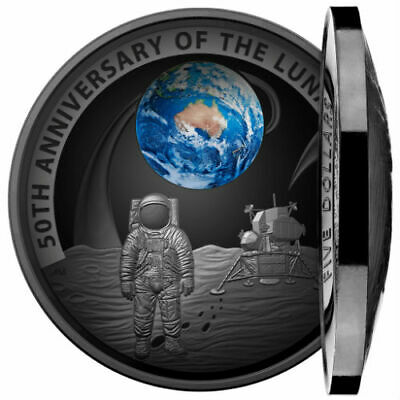50TH ANNIVERSARY MOON LANDING 20191 oz Pure Silver Black Nickel Plated Coin RAM