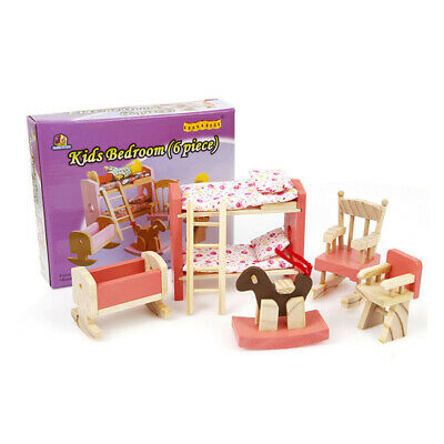 1 Set Wooden Play  House Furniture Toy Miniature Kids Room Bedroom Kit Gift