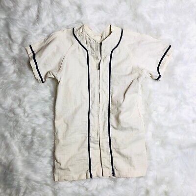 VINTAGE 1950 Russell Southern Jersey Small Zipper Baseball Shirt White Navy Blue