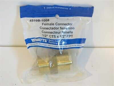 """Watts, 4510B-1008, Female Quick Connect Connector 1/2"""" CTS x 1/2"""" FPT"""