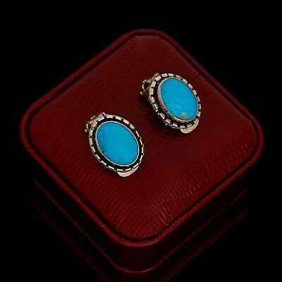 Vintage Sterling 950 Silver Mexican TAXCO Native Style Turquoise Womens Earrings