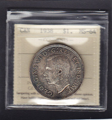 1938 CANADA $1 ICCS GRADED MINT STATE-64 .Great Example
