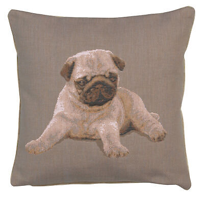 Puppy Pug Grey Dog French Tapestry Cushion Cover Hand Finished Designer Pillow