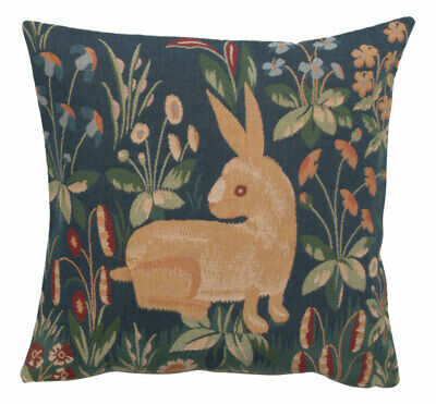 Medieval Rabbit French Woven Tapestry Cushion Pillow Cover Fine Art Home Decor