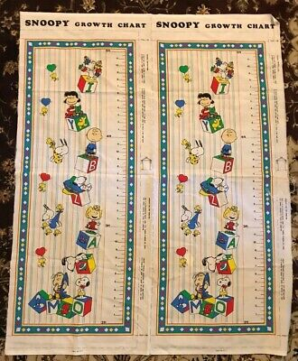 Vintage Fabric Craft Peanuts Snoopy Growth Chart - 2 Panels