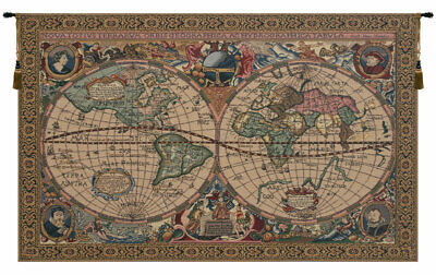 map Mercator Belgian Woven Old World map Nautical Tapestry Wall Hanging NEW