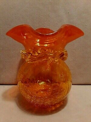 Vintage BLENKO ART GLASS Amberina Crackle Vase Orange Yellow