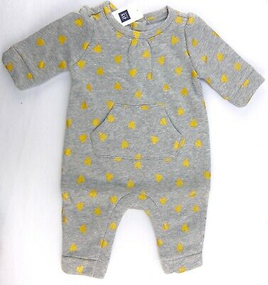 Baby Gap Girls One-Piece Romper Gray Gold Hearts Long Sleeves Size 0-3 Months