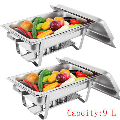 2 x 4.5L Trays Bain Marie Chafing Dish Stainless Steel Buffet Food Warmer Keeper