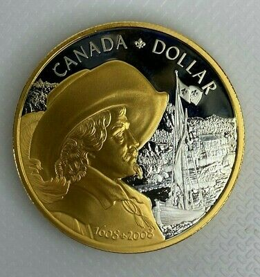 2008 Canada Founding Of Quebec Proof Silver Dollar Gold Plated Coin