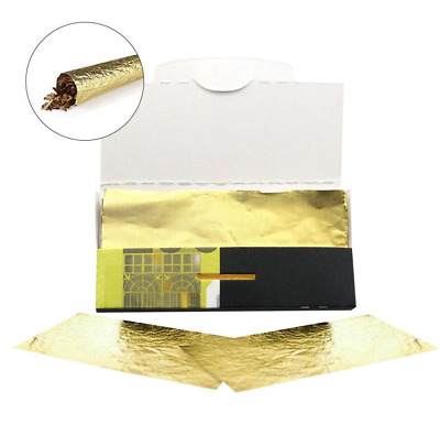 24K Gold Foil Rolling Papers Cigarette Tobacco Mull Buds 10 Leaves