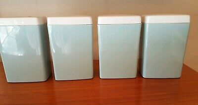 Vintage Astor Canisters Set of 4 Blue/Grey With White Lids Retro Kitchen EUC