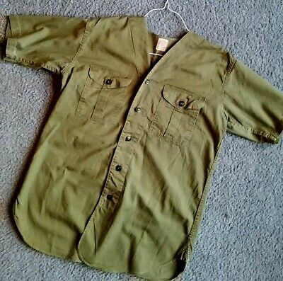 vintage '50's BOY Scouts OF America BSA Sanforized SUMMER no COLLAR camp SHIRT