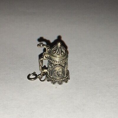 "Vintage Beau Sterling Silver 4/5"" Articulated Ornate Stein Charm"