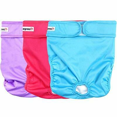 wegreeco Washable Female Dog Diapers 3 Pack , Bright Color, S, M , L, Ex-L, XXL