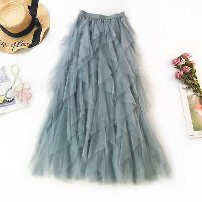 Women Irregular Layers Flounce Ruffle Tiered Dress Solid Tulle Tutu Mesh Skirt