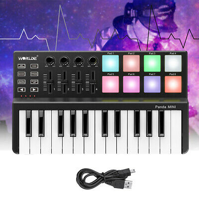WORLDE Panda Mini MIDI Controller Keyboard Drum Pad Lighting Backlit 25-Key USB