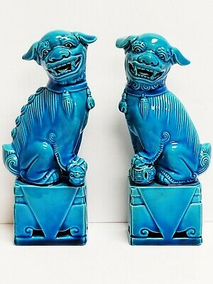 "Vintage PAIR of Turquoise Glazed Porcelain Chinese FOO DOGS Figures 6"" x 2"""