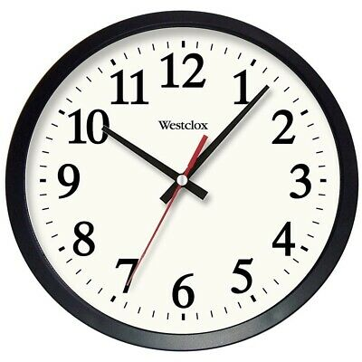 Wall Clock 14 in. Round Black Glass Lens Electric Battery Backup Quartz Movement