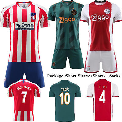 19/20 Football Full Kits Kids Youth Soccer Home Away Jersey Strip Outfit+Socks
