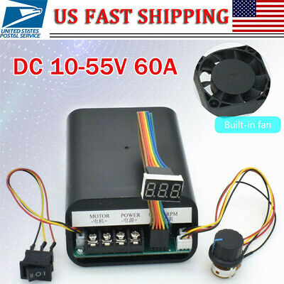 DC 10-55V 60A PWM Motor Speed Controller CW CCW Reversible Switch 12 24 36V US