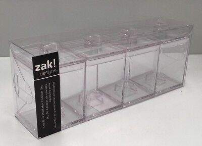 Zak Designs Mee Mee Mini 4pk Stackable Canisters Clear Colour , Coffee Storage