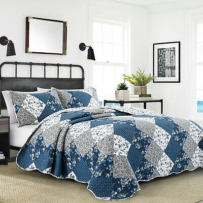 3 Piece Blue Patchwork Quilted Bedspread Set With Pillowcases Single Double King