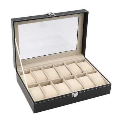Watch Display Box Case Faux Leather Jewelry Display Box, 12 Grids