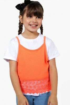 Girls two pack of white t-shirt and orange vest age 9-10 years new