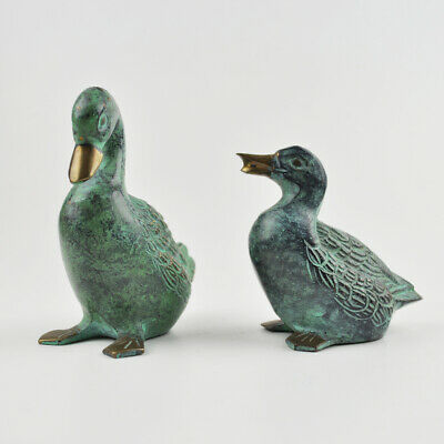 2 x Ente / Gans aus Messing - Grünspan - Messingfigur - Brass Duck / Goose