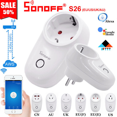 Sonoff S26 TFTTT WIFI Smart Power Socket Wireless Plug Time Alexa Google Home CY