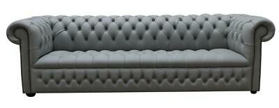 Chesterfield Edwardian 4 Seater Buttoned Seat Silver Grey Leather Sofa Settee