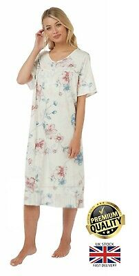New Ladies Marlon Short Sleeve Printed 100% Cotton Nightie Night Dress PJ