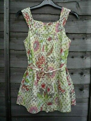 NEXT Girls Pretty Green/Pink Floral Sleeveless Summer Top Blouse 12 years H152cm