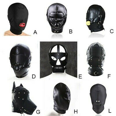 Soft Lace up Faux Leather Bondage Hood Harness Mask Mouth Gag Full Head Mask SM