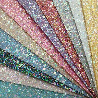 Pastel Gemstones Chunky Glitter Fabric A4 Or A5 Sheets Hair Bows Arts & Crafts