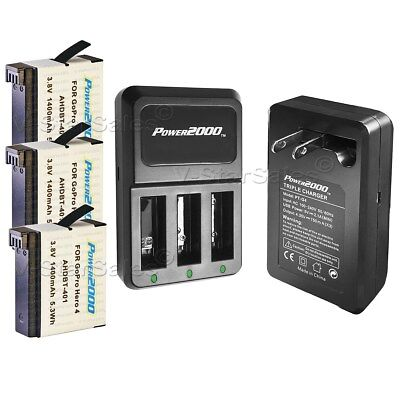 3x AHDBT401 Battery and 3 Channel AC Charger with USB for Gopro Hero4