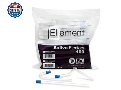 """100 PC ELEMENT Saliva Ejector CLEAR w/BLUE Tip Bendable Dental Disposable 6"""""""