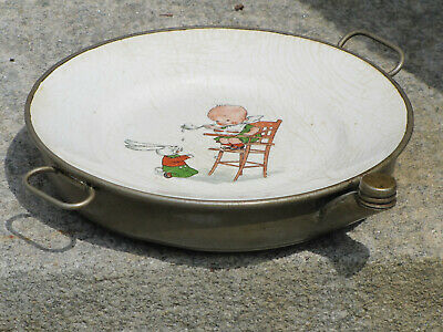 antique porcelain baby food warming dish w/ spout child & bunny baby room decor