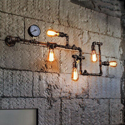 5-Lights Vintage Industrial Wall Lamp Steampunk Water Pipe Metal Wall Sconce