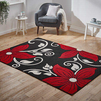 Floral Carved High Quality Rug Flower Black Red Thick Pile Rugs at Very Low Cost