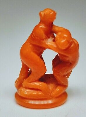 """Antique 1920s Chinese Hand-Carved Coral Two Monkeys Figurine Approx 1"""" Tall"""
