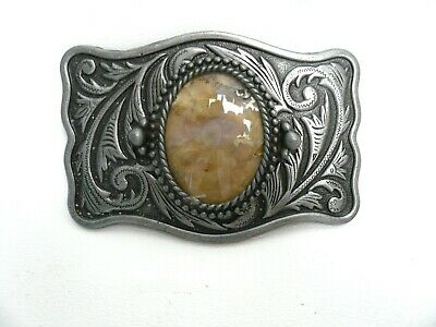 Vintage Silvertone Metal and Agate Belt Buckle