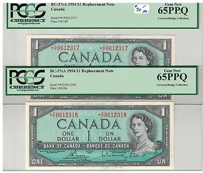 1954 2Consecutive CANADA Replacement $1 Dollar Notes Bouey/Rasminsky *C/F PCGS65