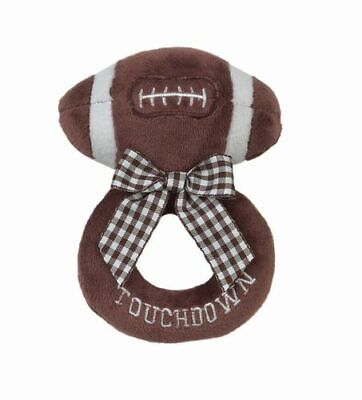 New! Touchdown Baby Ring Rattle Plush Football