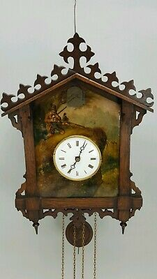 Rare Antique Black-Forest Painted Dial Cuckoo Wall Clock Hunting Scene