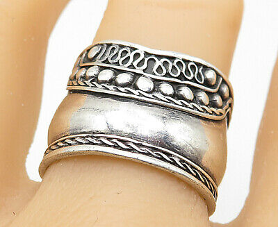 925 Sterling Silver - Vintage Ball Bead Swirl Twist Wide Band Ring Sz 9 - R9818