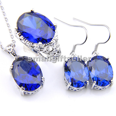 Classic blue topaz grmstone 925 silver Earrings Pendant Necklace Ring Set
