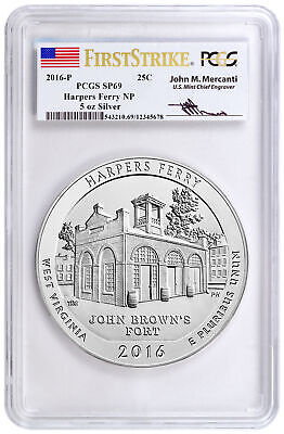 2016 P 25c 5 oz Silver ATB Harpers Ferry PCGS SP69 FS Mercanti Label SKU41893